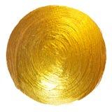 Ejemplo dibujado mano brillante redonda de la trama de la mancha de la pintura de la hoja de oro Foto de archivo libre de regalías