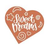 Ejemplo dibujado mano colorida del vector de los sueños dulces stock de ilustración