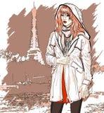 Ejemplo dibujado mano con una muchacha de la moda Imagenes de archivo