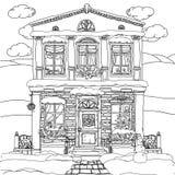 Ejemplo dibujado mano de la acción del vector de la casa stock de ilustración