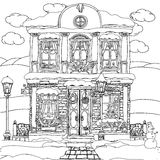 Ejemplo dibujado mano de la acción del vector de la casa ilustración del vector