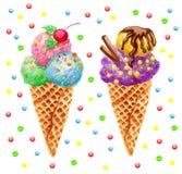 Ejemplo dibujado mano de la acuarela del helado Aislador del helado dos Fotografía de archivo libre de regalías