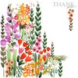Ejemplo dibujado mano de la acuarela de las flores de los campos Tarjeta de felicitación ilustración del vector