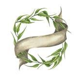 Ejemplo dibujado mano de la acuarela las hojas verdes enrruellan con la cinta ilustración del vector