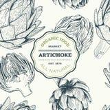 Ejemplo dibujado mano de la alcachofa del vector Colección de la comida Fotografía de archivo libre de regalías