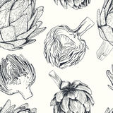 Ejemplo dibujado mano de la alcachofa del vector Colección de la comida Fotos de archivo