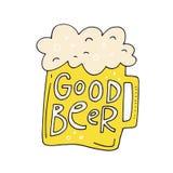 Ejemplo dibujado mano de la cerveza Imágenes de archivo libres de regalías