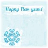 Ejemplo dibujado mano de la Feliz Año Nuevo del garabato Copo de nieve en el fondo de la acuarela Fotografía de archivo