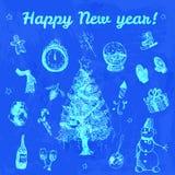 Ejemplo dibujado mano de la Feliz Año Nuevo del garabato Imágenes azules, fondo de la acuarela del añil Fotos de archivo