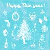 Ejemplo dibujado mano de la Feliz Año Nuevo del garabato Imágenes blancas, fondo azul de la acuarela Imagen de archivo