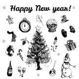 Ejemplo dibujado mano de la Feliz Año Nuevo del garabato Imágenes negras, fondo blanco Foto de archivo