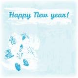 Ejemplo dibujado mano de la Feliz Año Nuevo del garabato Manoplas, cono del pino, hombre de pan de jengibre, bengala, fuegos arti Fotografía de archivo