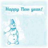 Ejemplo dibujado mano de la Feliz Año Nuevo del garabato Muñeco de nieve en el fondo de la acuarela Imágenes de archivo libres de regalías