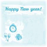 Ejemplo dibujado mano de la Feliz Año Nuevo del garabato Reloj, regalo, vidrios en el fondo de la acuarela Imágenes de archivo libres de regalías