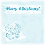 Ejemplo dibujado mano de la Feliz Navidad del garabato Ángel del vuelo en el fondo de la acuarela Fotos de archivo