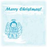 Ejemplo dibujado mano de la Feliz Navidad del garabato Ángel en el fondo de la acuarela Fotografía de archivo
