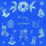 Ejemplo dibujado mano de la Feliz Navidad del garabato Árbol de navidad, regalo, campana, copo de nieve, vela, cinta, caramelo, c Imagen de archivo