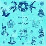 Ejemplo dibujado mano de la Feliz Navidad del garabato Árbol de navidad, regalo, campana, copo de nieve, vela, cinta, caramelo, c Imágenes de archivo libres de regalías