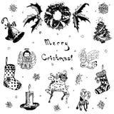Ejemplo dibujado mano de la Feliz Navidad del garabato Árbol de navidad, regalo, campana, copo de nieve, vela, cinta, caramelo, c Fotografía de archivo