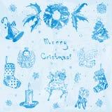 Ejemplo dibujado mano de la Feliz Navidad del garabato Árbol de navidad, regalo, campana, copo de nieve, vela, cinta, caramelo, c Foto de archivo