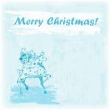 Ejemplo dibujado mano de la Feliz Navidad del garabato Ciervos en el fondo de la acuarela Foto de archivo