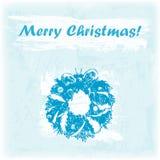 Ejemplo dibujado mano de la Feliz Navidad del garabato Guirnalda en el fondo de la acuarela Imagen de archivo libre de regalías