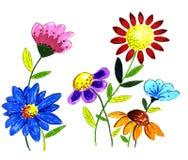 Ejemplo dibujado mano de la flor Fotos de archivo