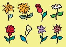 Ejemplo dibujado mano de la historieta del vector del tallo de flor Foto de archivo libre de regalías