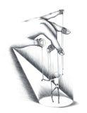 Ejemplo dibujado mano de la marioneta Fotos de archivo