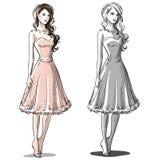 Ejemplo dibujado mano de la moda Alineada del baile de fin de curso Foto de archivo libre de regalías