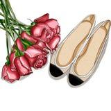Ejemplo dibujado mano de la moda - Rose Bouquet y un par de los zapatos de la bailarina stock de ilustración
