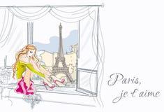 Ejemplo dibujado mano de la muchacha de la moda Imagenes de archivo