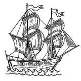 Ejemplo dibujado mano de la nave del mar en el fondo blanco Diseñe el elemento para el cartel, tarjeta, camiseta, emblema Imagenes de archivo