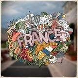Ejemplo dibujado mano de la palabra de Francia del garabato del vector de la historieta