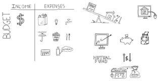 Ejemplo dibujado mano de las finanzas personales Fotos de archivo libres de regalías