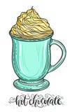 Ejemplo dibujado mano decorativa del vector del garabato Chocolate caliente o café en una taza con caramelo azotado Fotografía de archivo libre de regalías