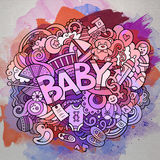 Ejemplo dibujado mano del bebé del garabato del vector de la historieta Imágenes de archivo libres de regalías