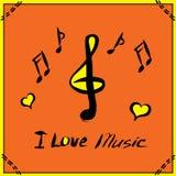 Ejemplo dibujado mano del cartel de la música Imagenes de archivo