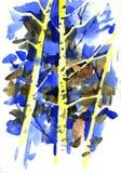 Ejemplo dibujado mano del cepillo de la acuarela de los árboles de abedul del bosque Fotografía de archivo libre de regalías