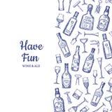 Ejemplo dibujado mano del fondo de las botellas y de los vidrios de la bebida del alcohol del vector con el lugar para el texto stock de ilustración