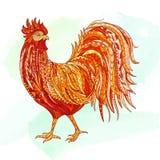 Ejemplo dibujado mano del gallo del esquema del garabato Decorativo en estilo del zentangle Modelado ardientemente en el fondo de Imagenes de archivo