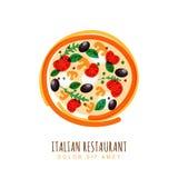 Ejemplo dibujado mano del garabato de la pizza italiana con el tomate, mus ilustración del vector