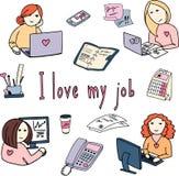 Ejemplo dibujado mano del garabato del vector de muchachas en el trabajo Imagen de archivo libre de regalías