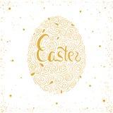 Ejemplo dibujado mano del huevo del oro de Pascua Greetin creativo Imagenes de archivo