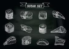 Ejemplo dibujado mano del sushi y de los rollos Foto de archivo