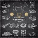 Ejemplo dibujado mano del vector con los productos de carne Imagen de archivo libre de regalías