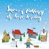 Ejemplo dibujado mano del vector de la estación del invierno con las pequeñas casas, el muñeco de nieve y el niño con un trineo L Imagen de archivo