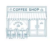 Ejemplo dibujado mano del vector de la fachada del café stock de ilustración