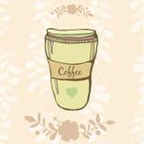 Ejemplo dibujado mano del vector de la taza de Coffe con Fotografía de archivo libre de regalías