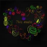 Ejemplo dibujado mano del vector de las frutas y de las bayas Fotos de archivo